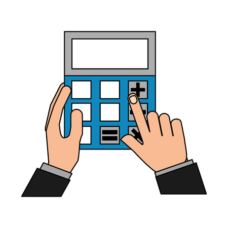 hands with business calculator device vector illustration