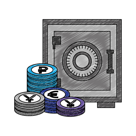 business safe box stack coins money vector illustration Stock Vector - 111537327