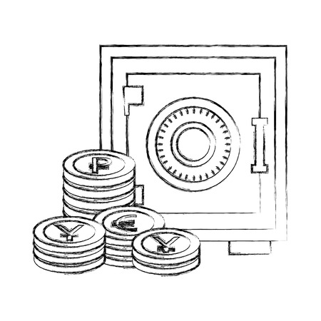 business safe box stack coins money vector illustration hand drawing