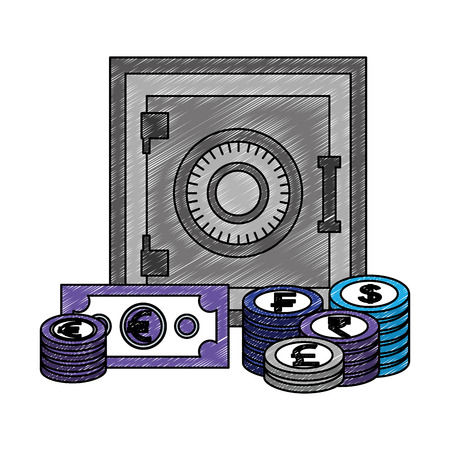safe box money banknote coins currency vector illustration