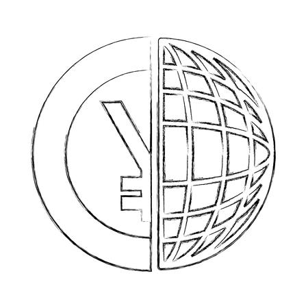 asian yen coin money inside half of the world vector illustration hand drawing