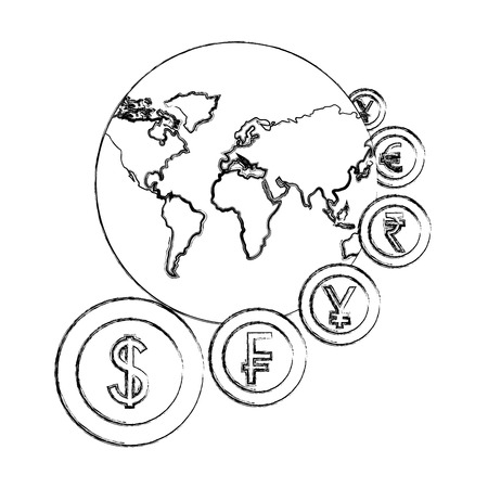 world with coins currency around business vector illustration hand drawing