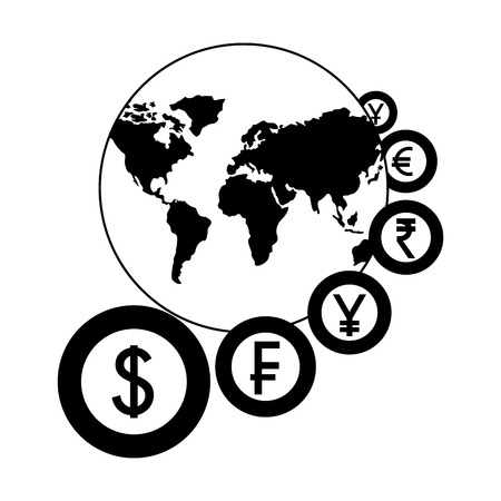 world with coins currency around business vector illustration