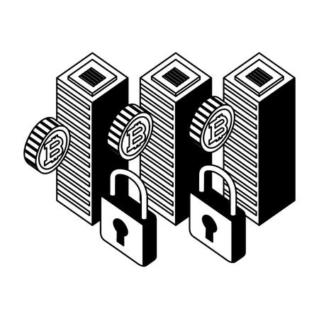 dataserver center bitcoin security network vector illustration Foto de archivo - 111537335
