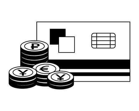 bank credit card stacked coins currency vector illustration Ilustração