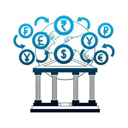 banking world foreign exchange money coins vector illustration neon Illustration