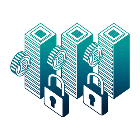 dataserver center bitcoin security network vector illustration neon image Illustration