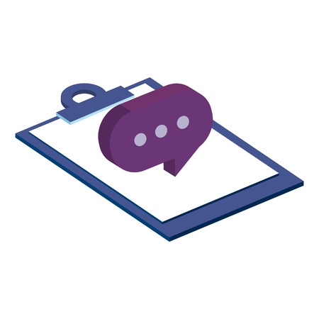 checklist clipboard with speech bubble vector illustration design Banque d'images - 110542559