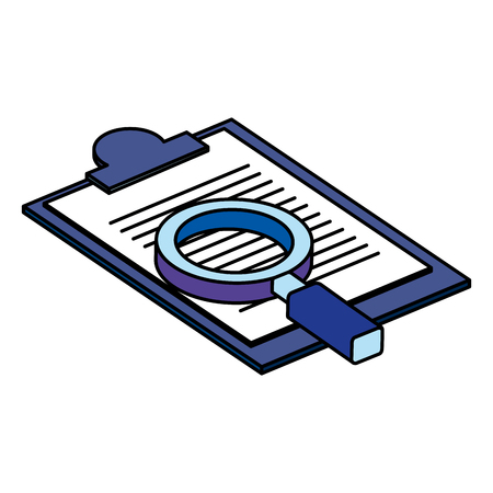 checklist clipboard with magnifying glass vector illustration design Vecteurs