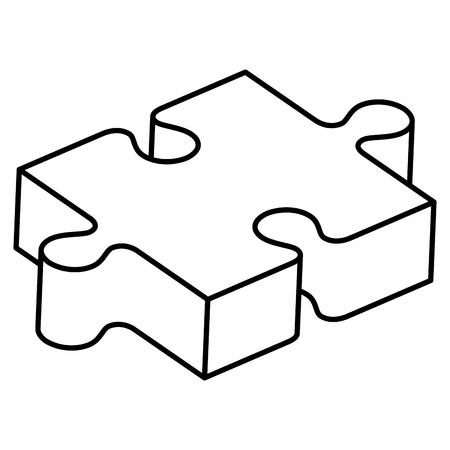 puzzle game piece isometric vector illustration design Illustration