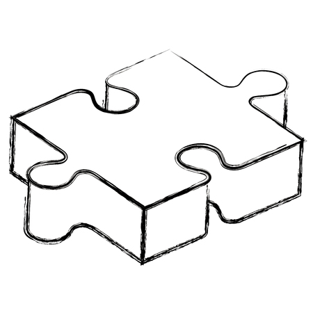 puzzle game piece isometric vector illustration design Stock Illustratie