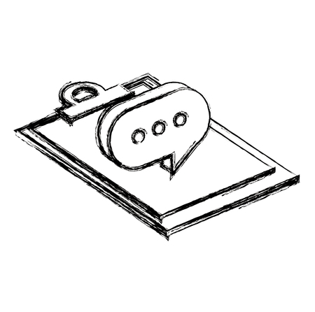 checklist clipboard with speech bubble vector illustration design Banque d'images - 110542646
