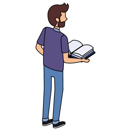 man with text books vector illustration design