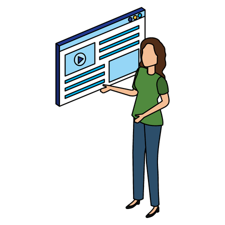 woman with media player interface vector illustration design Çizim