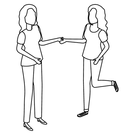 young women couple friendly vector illustration design