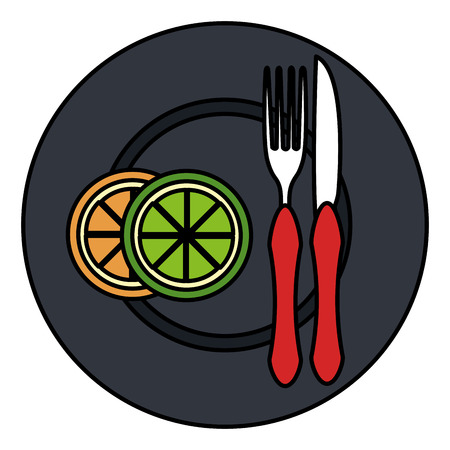 orange in dish with fork and knife vector illustration design Illustration
