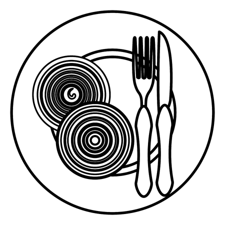 onion in dish with fork and knife vector illustration design