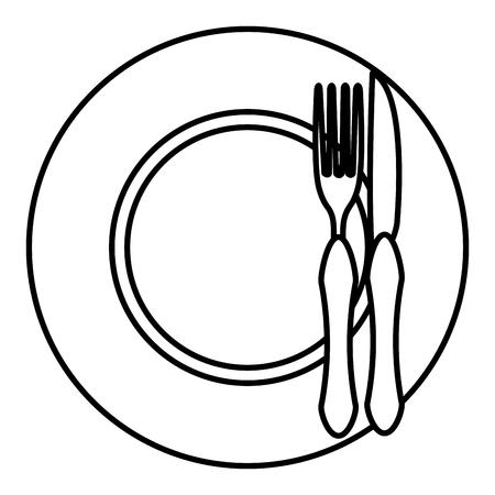 piatto con forchetta e coltello illustrazione vettoriale design