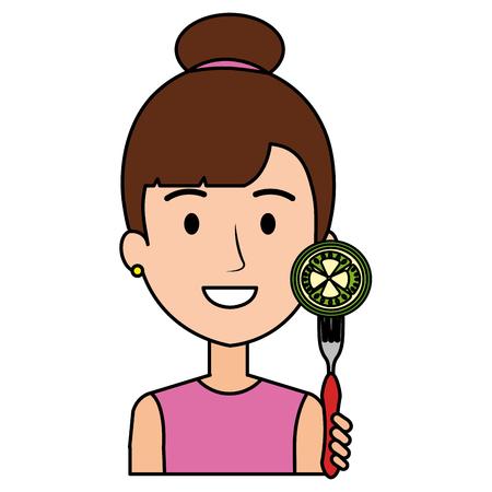 woman with fresh tomato in fork vector illustration design Archivio Fotografico - 110518677