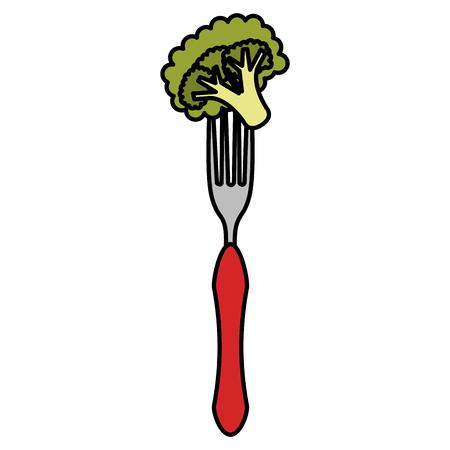 fresh broccoli in fork vector illustration design