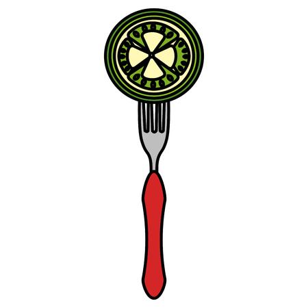 fresh tomato in fork vector illustration design Archivio Fotografico - 110518694