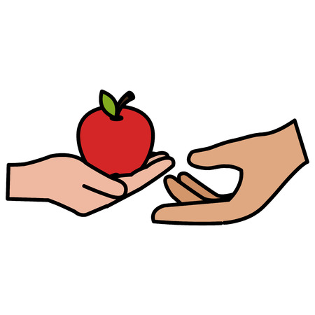 hands with fresh apple vector illustration design