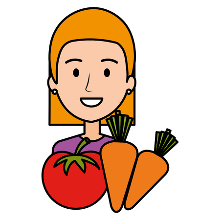 woman with tomato and carrots vector illustration design