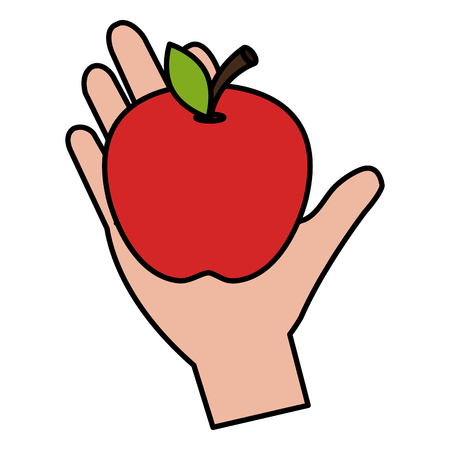 hand with fresh apple vector illustration design