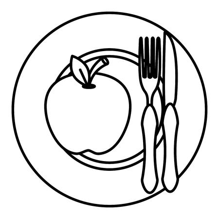 apple in dish with fork and knife vector illustration design Vektorgrafik