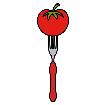 fresh tomato in fork vector illustration design