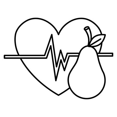heart cardio with pear vector illustration design