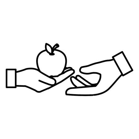 hands with fresh apple vector illustration design