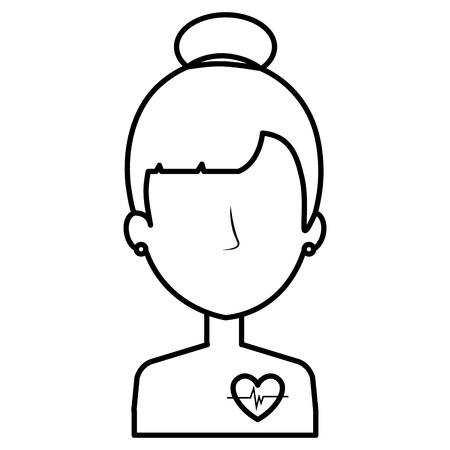 woman with heart cardio vector illustration design