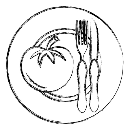 tomato in dish with fork and knife vector illustration design Stock Illustratie