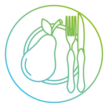 pear in dish with fork and knife vector illustration design