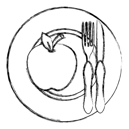 apple in dish with fork and knife vector illustration design