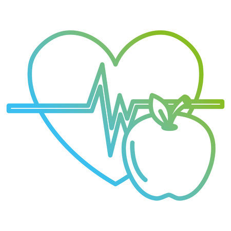 heart cardio with apple vector illustration design Banque d'images - 110518758