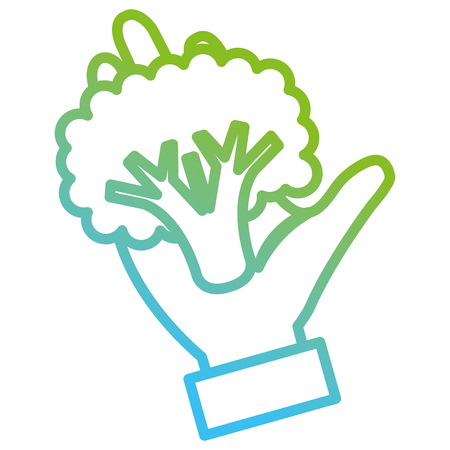 hand with fresh broccoli vector illustration design