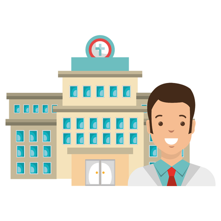 doctor man with hospital building vector illustration design Ilustração