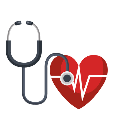 heart cardio with stethoscope vector illustration design Illustration