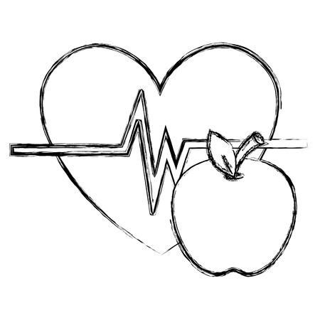 heart cardio with apple vector illustration design Illustration