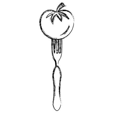 fresh tomato in fork vector illustration design Archivio Fotografico - 107314675