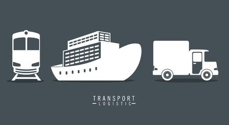 Transporte conjunto logístico vehículos, diseño de ilustraciones vectoriales