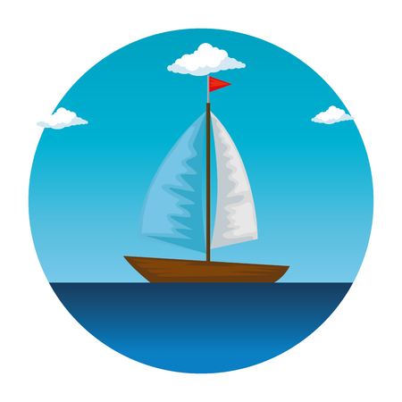 sail boat in the sea icon vector illustration design Illustration