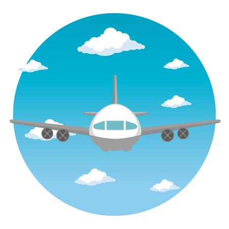 airplane flying transport icon vector illustration design
