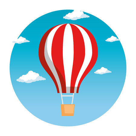 balloon air hot flying vector illustration design