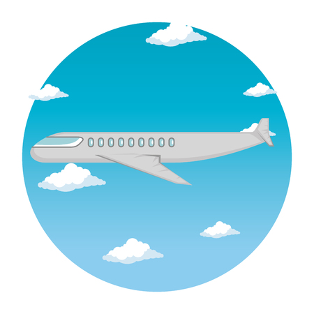 airplane flying transport icon vector illustration design
