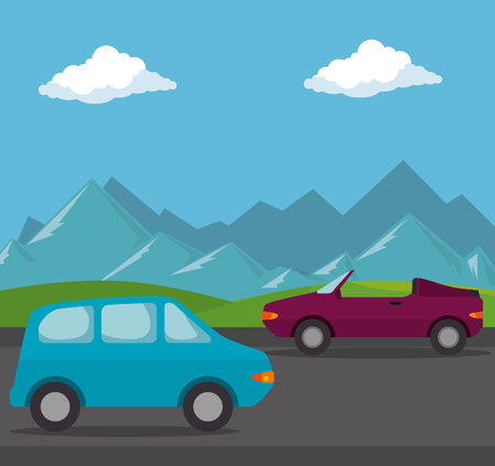 cars vehicles transport scene vector illustration design