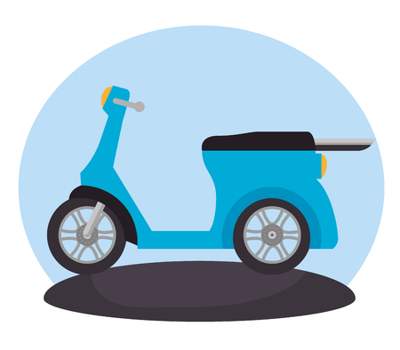 motorcycle vehicle in the road scene vector illustration design