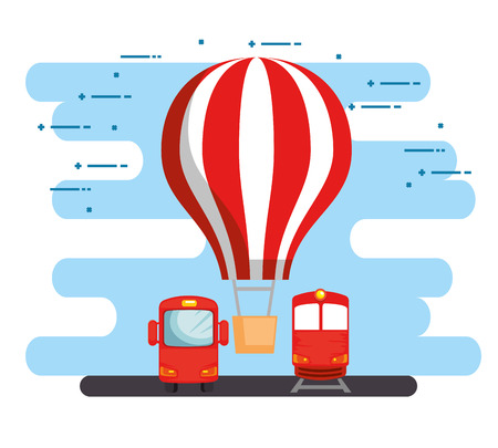 transport logistic set vehicles vector illustration design Ilustración de vector